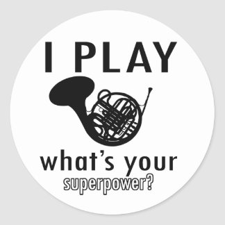 I play the French Horn Classic Round Sticker