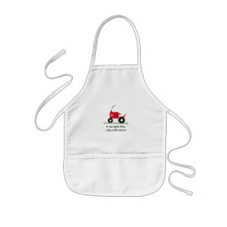 I play with tractors: Red Tractor Baby Bib Kids Apron