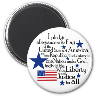 I pledge Allegiance to the flag of the United 6 Cm Round Magnet