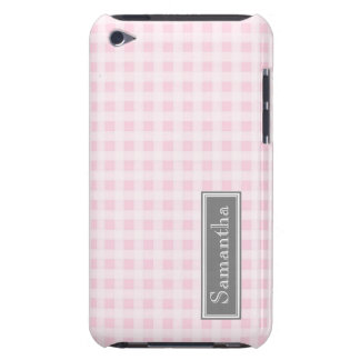 i Pod Touch Pink Gingham Custom Name Barely There iPod Covers