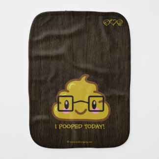 I Pooped Today! Smart Poo with Glasses Burp Cloth