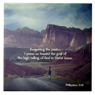 I press on toward the goal Philippians 3:14 Bible Large Square Tile