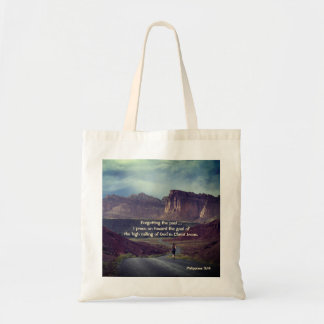 I press on toward the goal Philippians 3:14 Bible Tote Bag