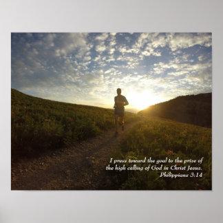 I Press Toward the Goal Philippians 3:14 Scripture Poster