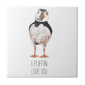 I Puffin Love You Puffin Message Small Square Tile
