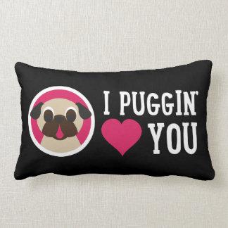 I Puggin' Love You Fawn Pug Lumbar Pillow