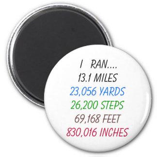 I Ran 13.1 Miles 6 Cm Round Magnet