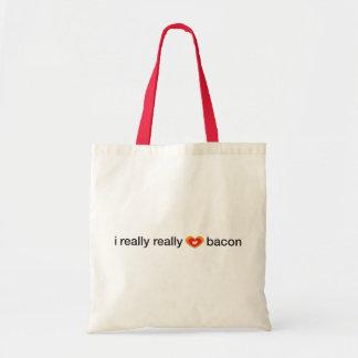 i really really heart bacon canvas bags