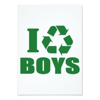 """I Recycle Boys 5"""" X 7"""" Invitation Card"""