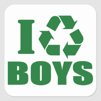 I Recycle Boys Square Sticker