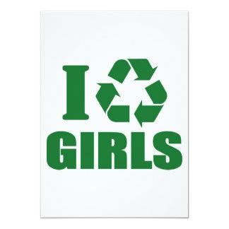 "I Recycle Girls 5"" X 7"" Invitation Card"