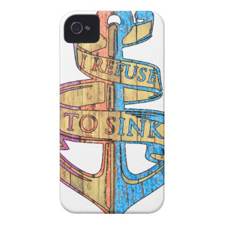 """I Refuse to Sink"" Quote Nautical Anchor iPhone 4 Covers"