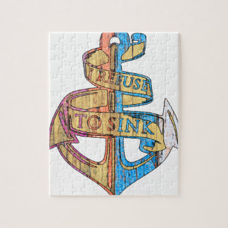 """I Refuse to Sink"" Quote Nautical Anchor Jigsaw Puzzle"