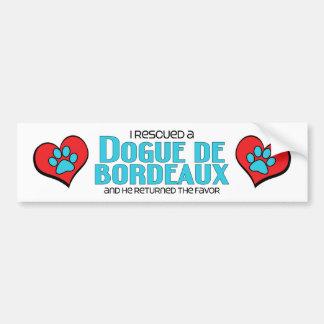 I Rescued a Dogue de Bordeaux (Male Dog) Car Bumper Sticker