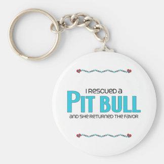 I Rescued a Pit Bull (Female Dog) Keychain