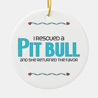 I Rescued a Pit Bull (Female Dog) Round Ceramic Decoration