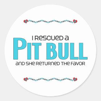 I Rescued a Pit Bull (Female Dog) Round Sticker