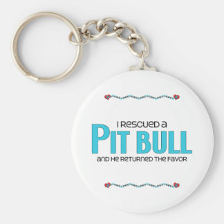 I Rescued a Pit Bull (Male Dog) Basic Round Button Key Ring