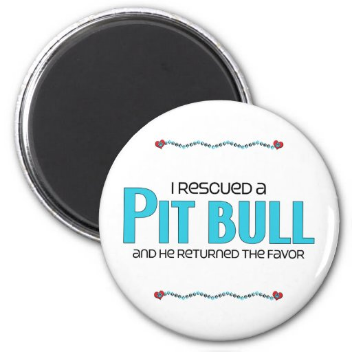 I Rescued a Pit Bull (Male Dog) Refrigerator Magnets