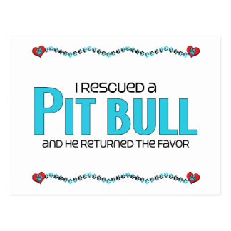 I Rescued a Pit Bull (Male Dog) Postcards