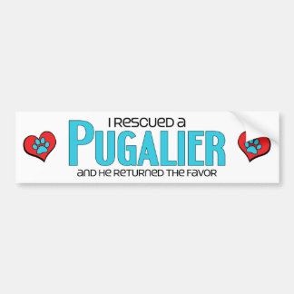 I Rescued a Pugalier (Male) Dog Adoption Design Bumper Sticker