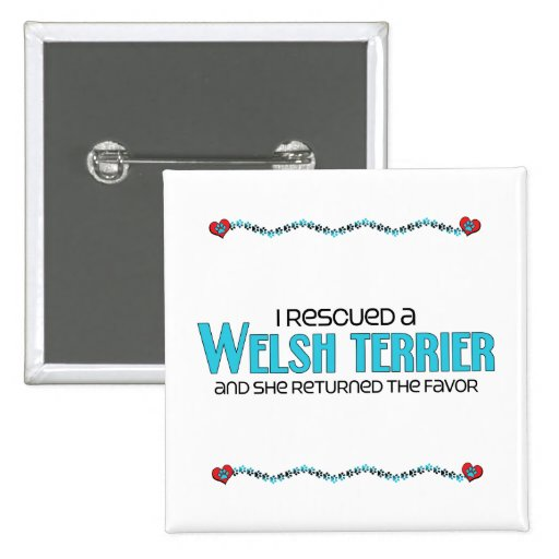I Rescued a Welsh Terrier (Female Dog) Pinback Buttons