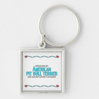 I Rescued an American Pit Bull Terrier (Female) Silver-Colored Square Key Ring
