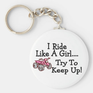 I Ride Like A Girl Try To Keep Up Quad Key Ring