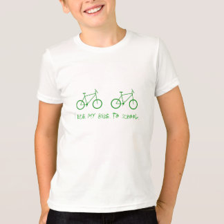 I ride my bike to school. T-Shirt