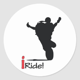 I ride tank wheelies classic round sticker