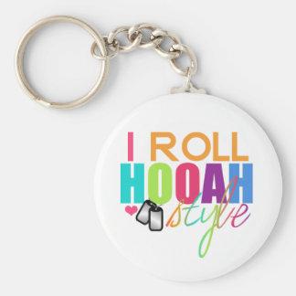 I Roll Hooah Style Keychain