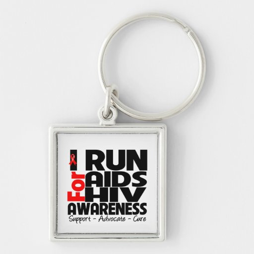 I Run For AIDS HIV Awareness Keychains
