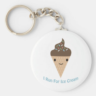 I run for Ice Cream Basic Round Button Key Ring