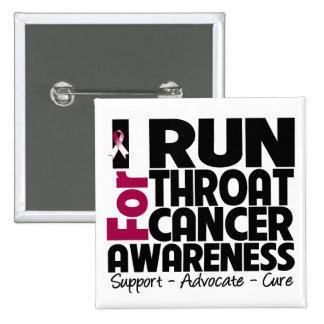 I Run For Throat Cancer Awareness 15 Cm Square Badge