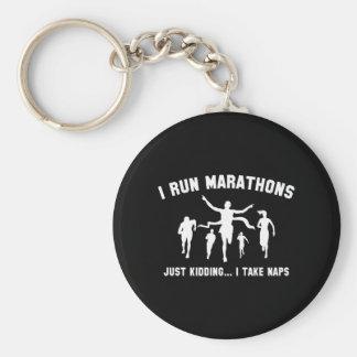 I Run Marathons Basic Round Button Key Ring
