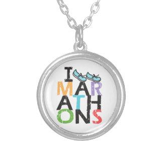 I run Marathons! Round Pendant Necklace