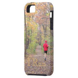 """I RUN""(PHOTOG. PERSON RUNNING IN WOODS IN FALL) TOUGH iPhone 5 CASE"