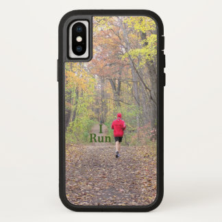 """I RUN"" RUNNER WEARING RED JACKET RUNNING IN WOODS iPhone X CASE"