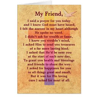 I said a prayer -- inspirational greeting card