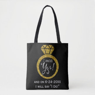 I Said Yes! Faux-Glitter Gold Ring Bride-To-Be Tote Bag