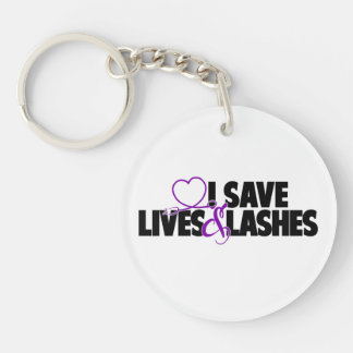 I save lives and lashes Single-Sided round acrylic key ring