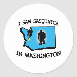 I Saw Sasquatch In Washington Round Sticker