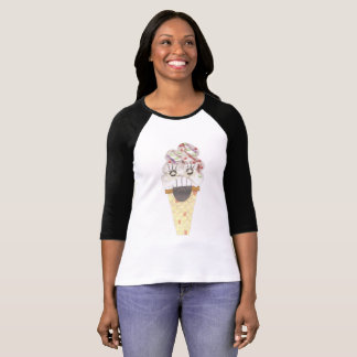 I Scream No Background Women's Three Quarter Top