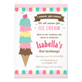 I Scream You Scream Ice Cream Birthday Invitation
