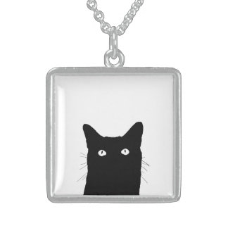 I See Cat Click to Select Your Color Decor Option Sterling Silver Necklace