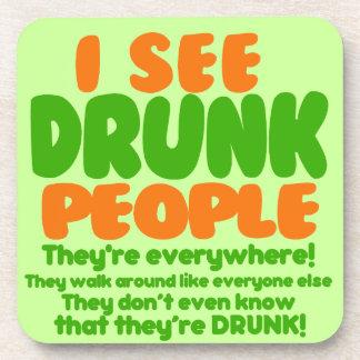 I See Drunk People Beverage Coaster
