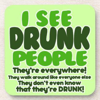 I See Drunk People Beverage Coasters