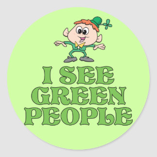 I See Green People Round Sticker