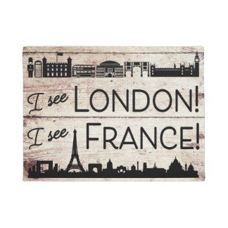 I See London I see France Faux Wood Finish Doormat