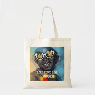 I SEE PEACE LOVE & HAPPINESS TOTE BAG